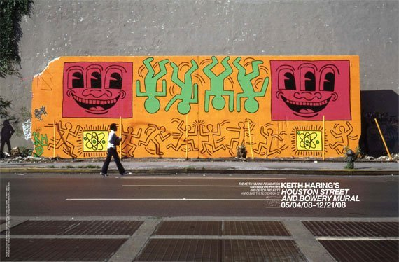 Keith Haring, Houston Street and Bowery mural, as it looked in 1982
